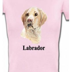 T-Shirts Races de chiens Tête de Labrador sable  (S)