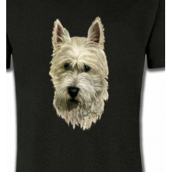 T-Shirts Westie Tête de Westie  (C)