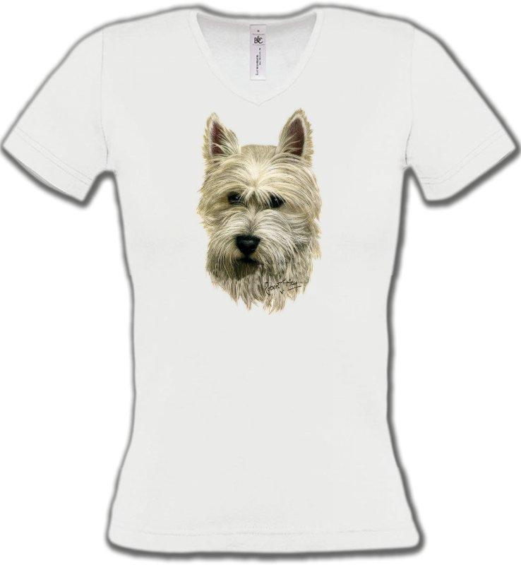 T-Shirts Col V FemmesWestieTête de Westie  (C)