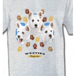 T-Shirts Westie Westies pattes de chiens  (D)