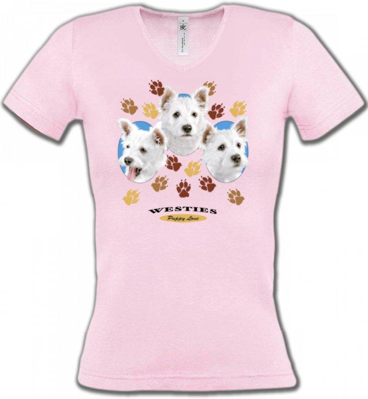 T-Shirts Col V FemmesWestieWesties pattes de chiens  (D)