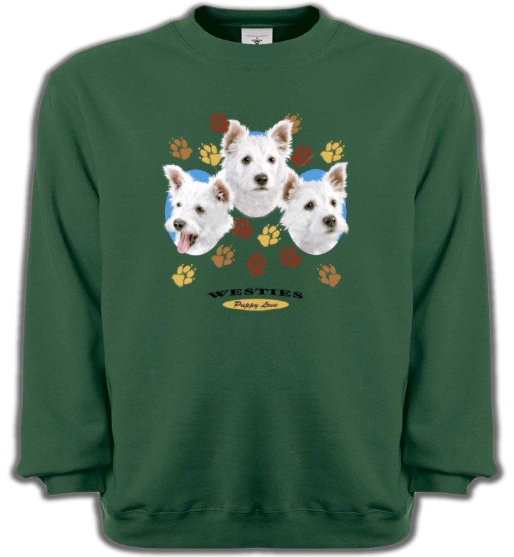 Sweatshirts UnisexeWestieWesties pattes de chiens  (D)
