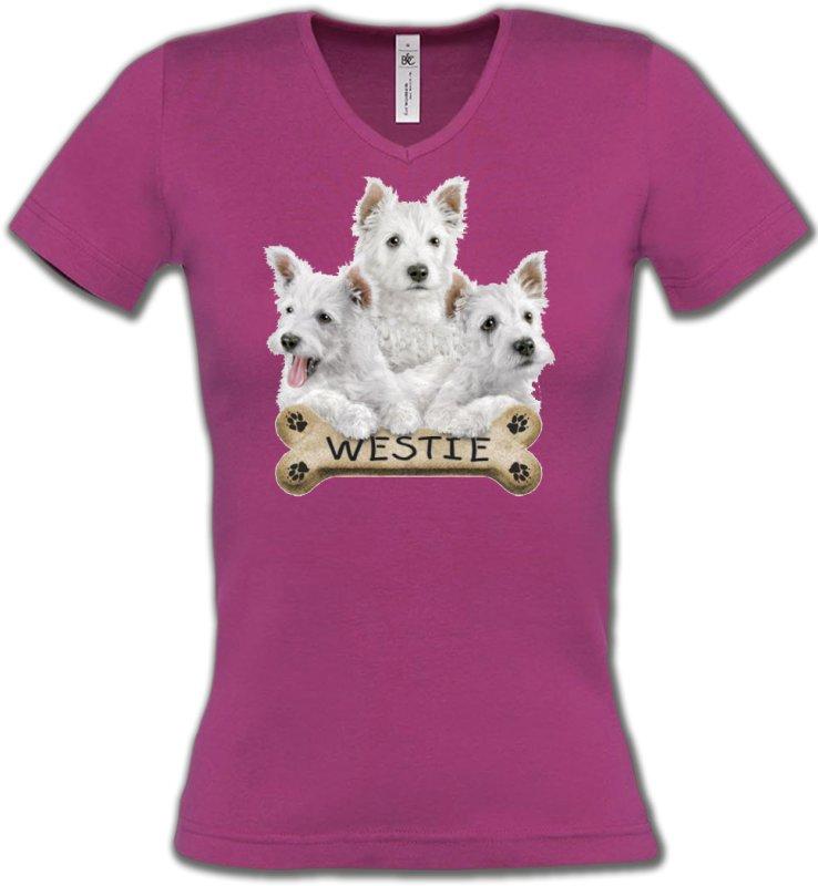 T-Shirts Col V FemmesWestieWestie (E)
