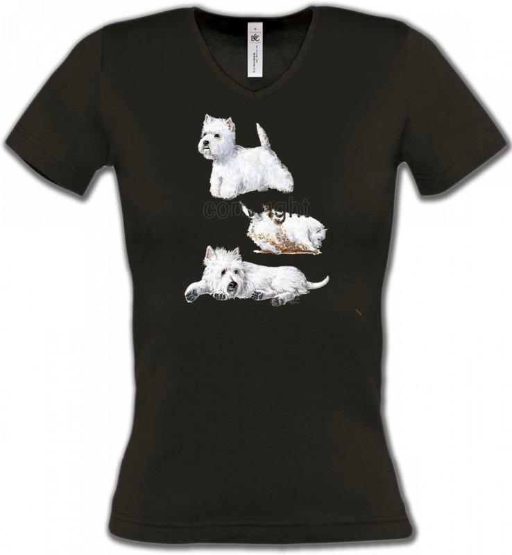 T-Shirts Col V FemmesWestieWestie (H)
