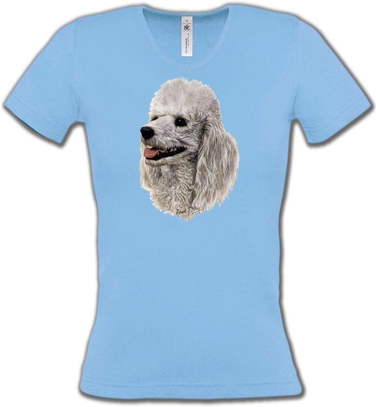 T-Shirts Col V FemmesCanichesTête de Caniche (D)