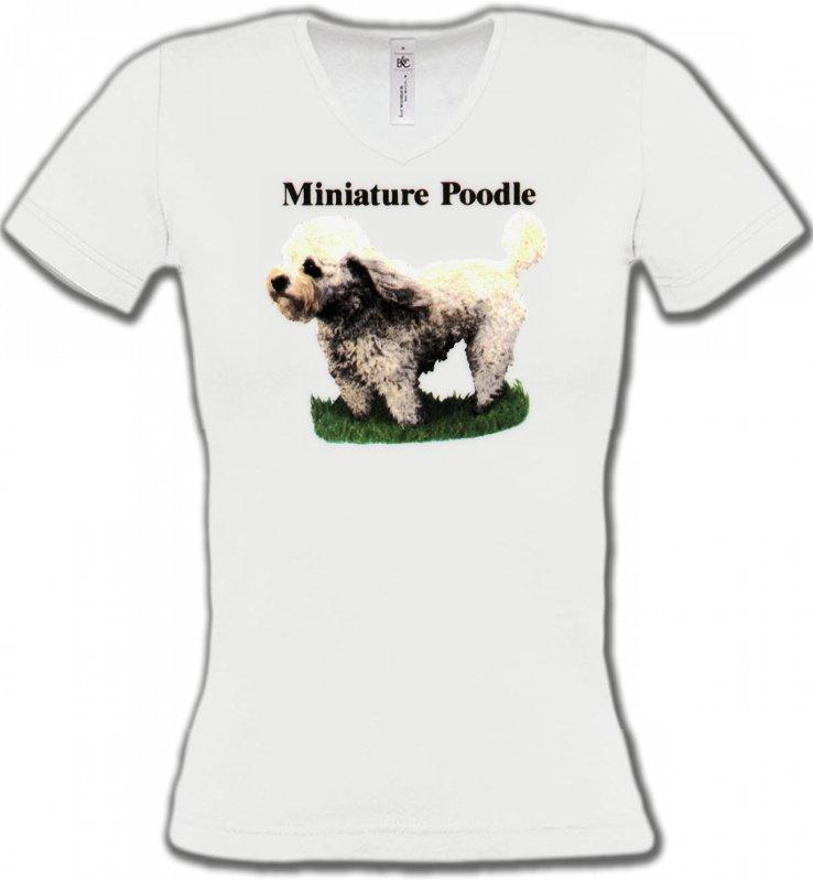 T-Shirts Col V FemmesCanichesCaniche nain (B)