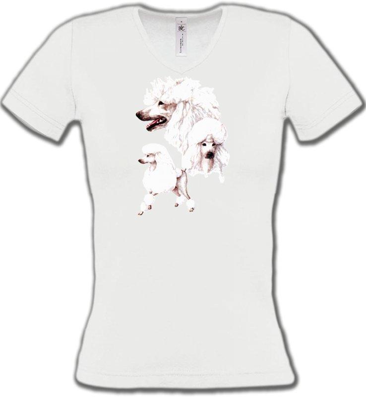 T-Shirts Col V FemmesCanichesCaniche blanc (N)