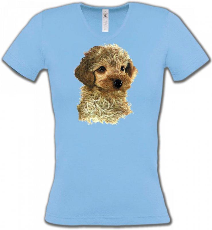 T-Shirts Col V FemmesCanichesBébé caniche
