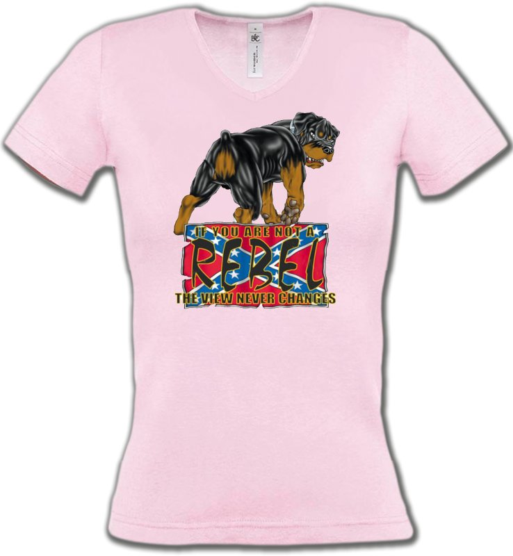 T-Shirts Col V FemmesRottweilerRottweiler Rebel  (A)