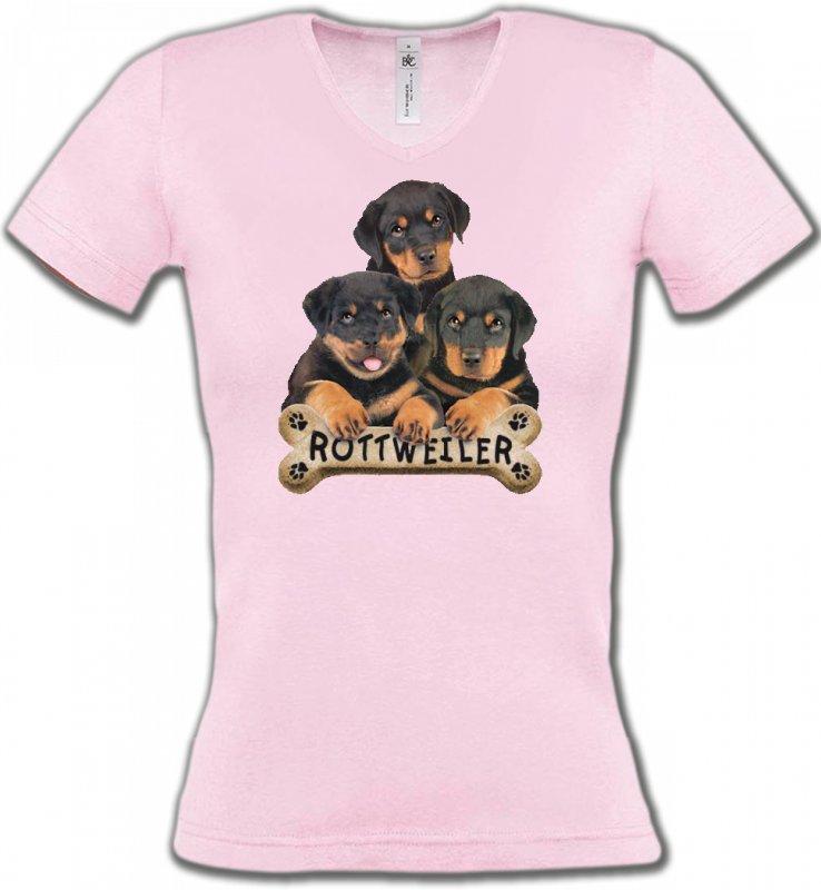 T-Shirts Col V FemmesRottweilerBébés Rottweilers (R)
