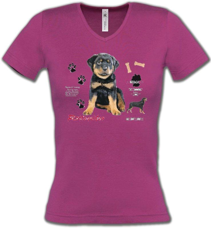 T-Shirts Col V FemmesRottweilerRottweiler Chiot  (Q)