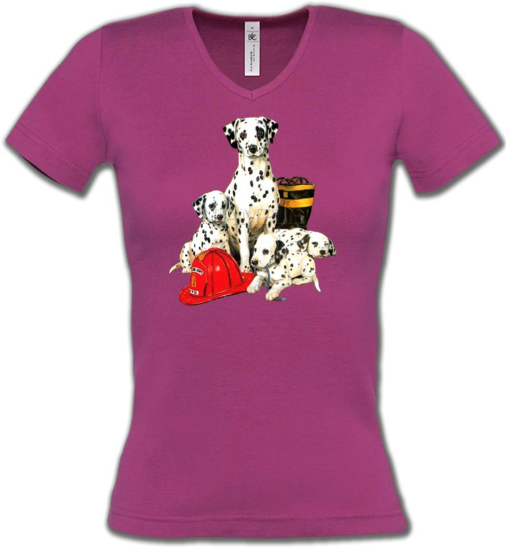 T-Shirts Col V FemmesDalmatiensDalmatien Famille (F)