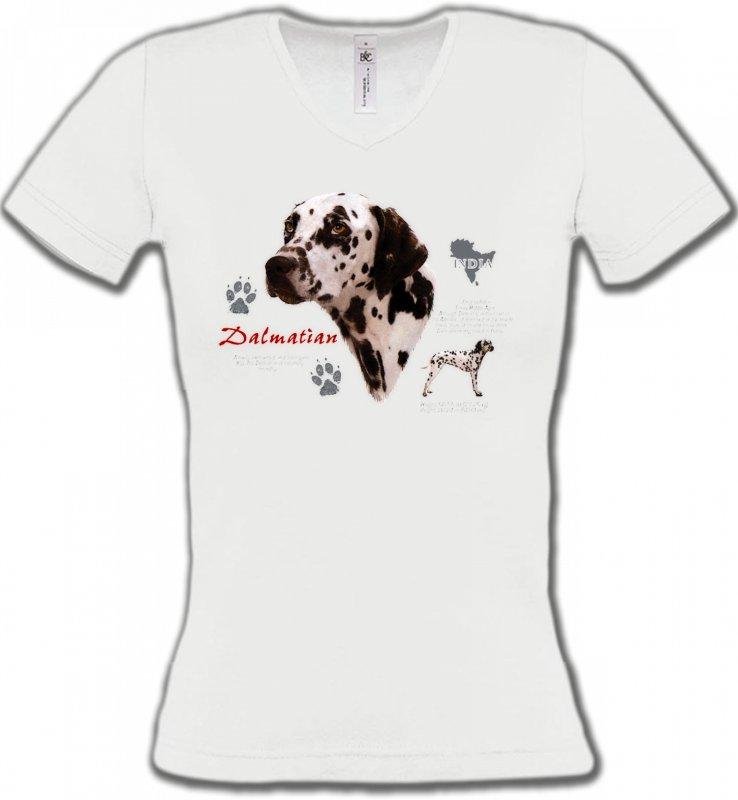 T-Shirts Col V FemmesDalmatiensDalmatien (N)