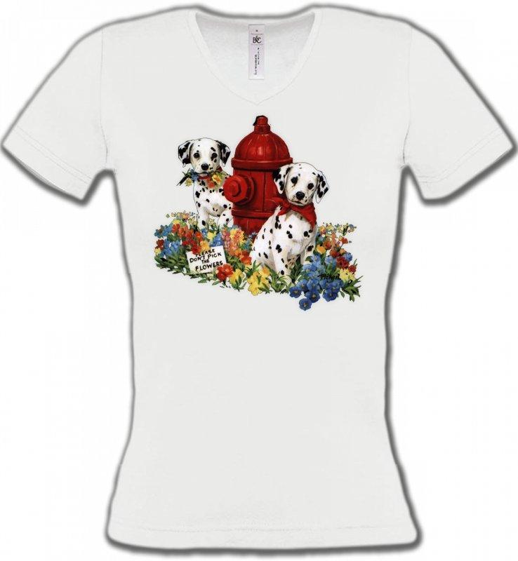 T-Shirts Col V FemmesDalmatiensDalmatiens chiots (A)