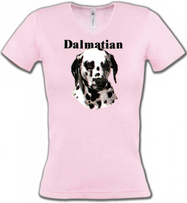 T-Shirts Col V FemmesDalmatiensTête Dalmatien (H)
