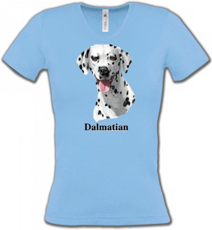 T-Shirts Col V FemmesDalmatiensTête Dalmatien (D)
