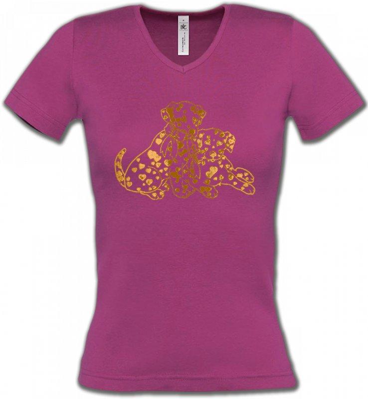T-Shirts Col V FemmesDalmatiensDalmatien Or (C)