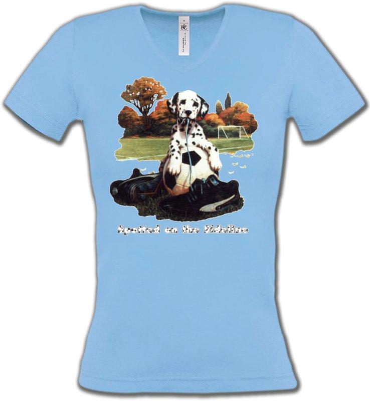 T-Shirts Col V FemmesDalmatiensDalmatien Football(M)