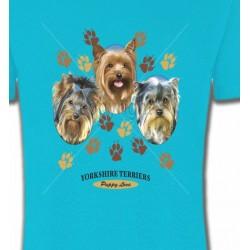 T-Shirts Yorkshires Trois têtes de Yorkshires (H)